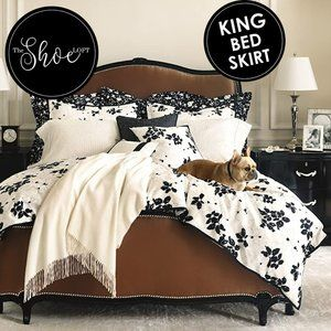 Black Floral Port Palace Dust Ruffle Bed Skirt